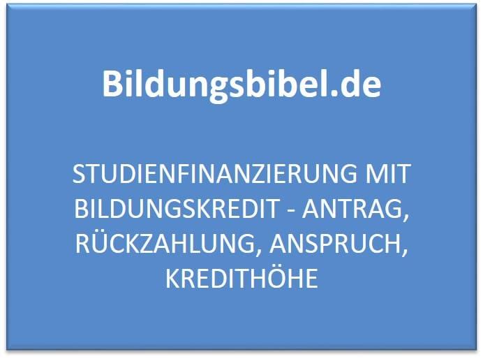 Studienfinanzierung mit Bildungskredit Antrag, Rückzahlung, Anspruch, Kredithöhe