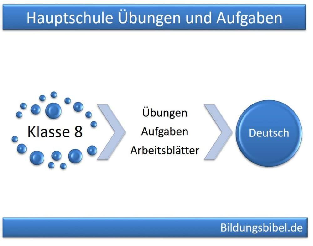 Deutsch Klasse 8, Hauptschule Übungen, Aufgaben, Arbeitsblätter 8. Klasse