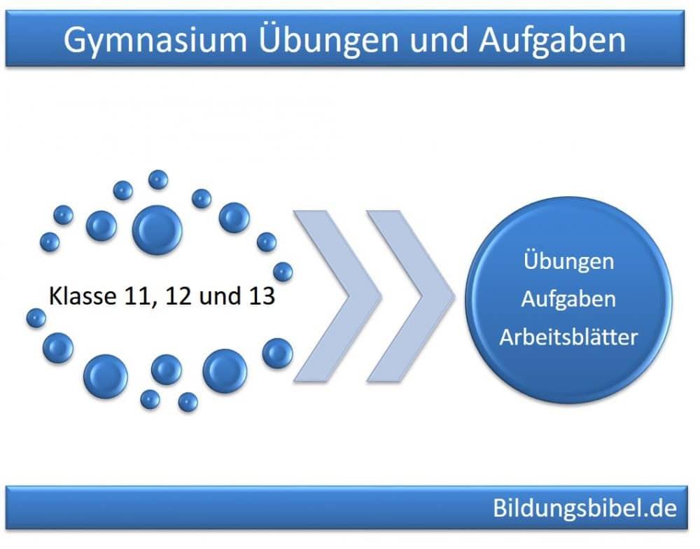 Gymnasium Klasse 11, 12 und 13 Übungen, Aufgaben und Arbeitsblätter