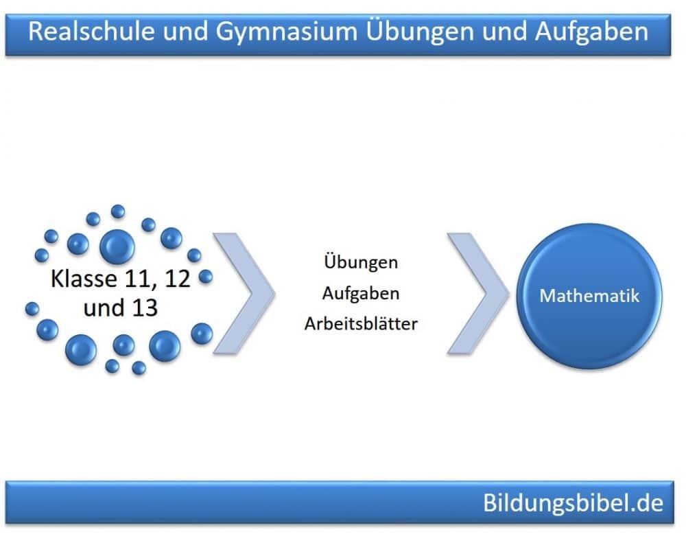 Gymnasium Klasse 11, 12 und 13 Mathematik Übungen, Aufgaben und Arbeitsblätter