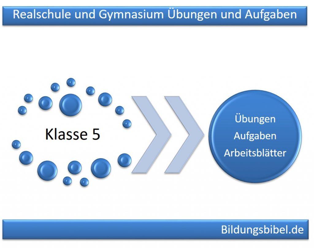 Realschule und Gymnasium Klasse 5 Übungen, Aufgaben und Arbeitsblätter