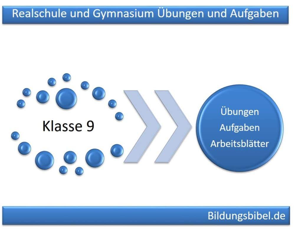 Realschule und Gymnasium Klasse 9 Übungen, Aufgaben und Arbeitsblätter
