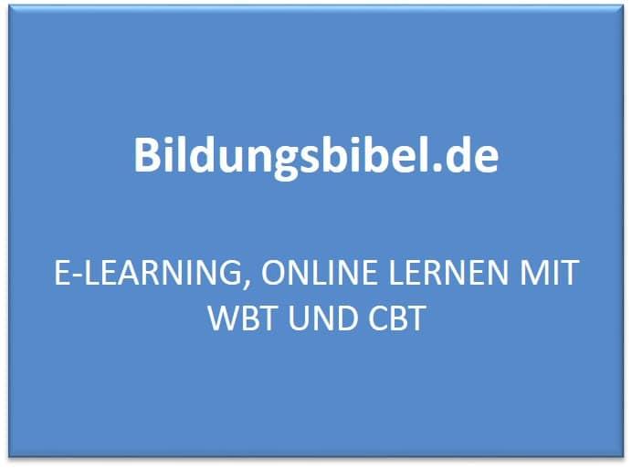 E-Learning, online Lernen mit WBT und CBT