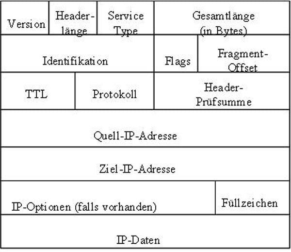 IP Header Aufbau, IP Protokoll, Internet Protokoll, Bestandteile