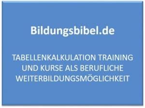Tabellenkalkulation Training und Excel Kurs als berufliche Weiterbildungsmöglichkeit