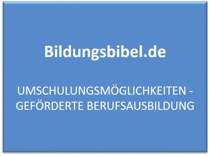 Die Umschulungsmöglichkeiten in Deutschland, Ursachen, Dauer, Träger, Arten sowie Gesetze für die Umschulung