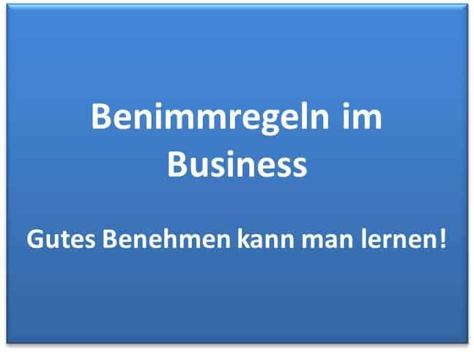 Benimmregeln im Business - Gutes Benehmen kann man lernen