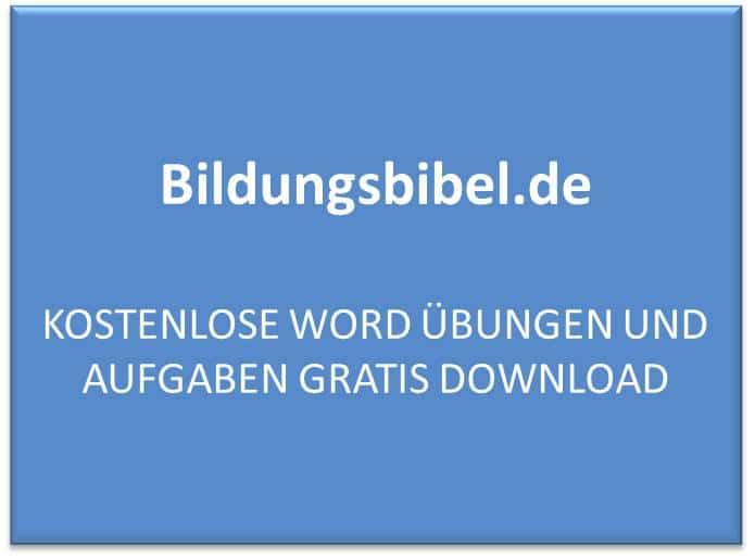 Kostenlose Word Übungen und Aufgaben gratis download