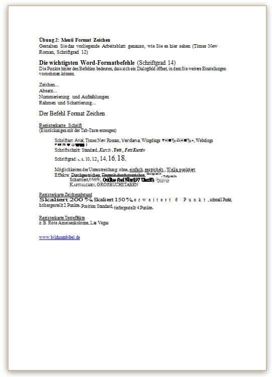 Word Übungsblatt 2 - erweiterte Zeichenformatierung