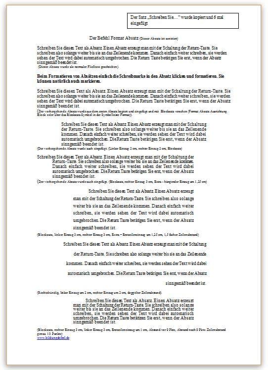 Word Übungsblatt 4 - erweiterte Absatzformatierung und Einzüge