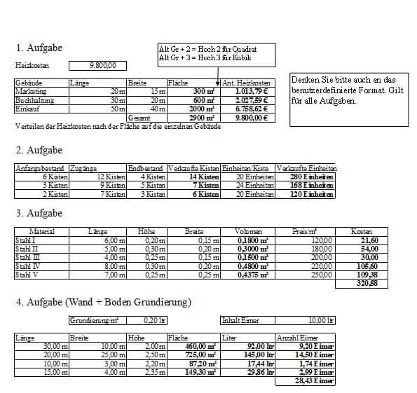 Excel Übung zu benutzerdefinierte Formate anlegen sowie das Benutzen über Zahlen formatieren.