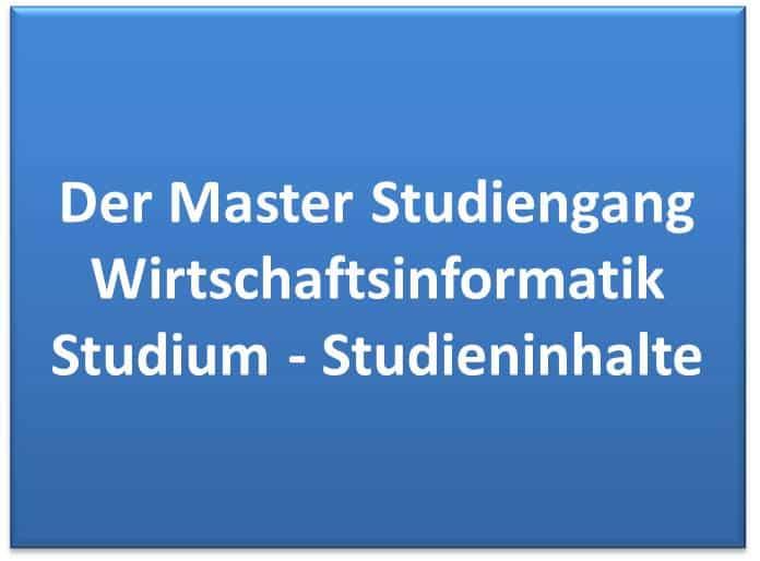 Der Master Studiengang Wirtschaftsinformatik Studium - Studieninhalte