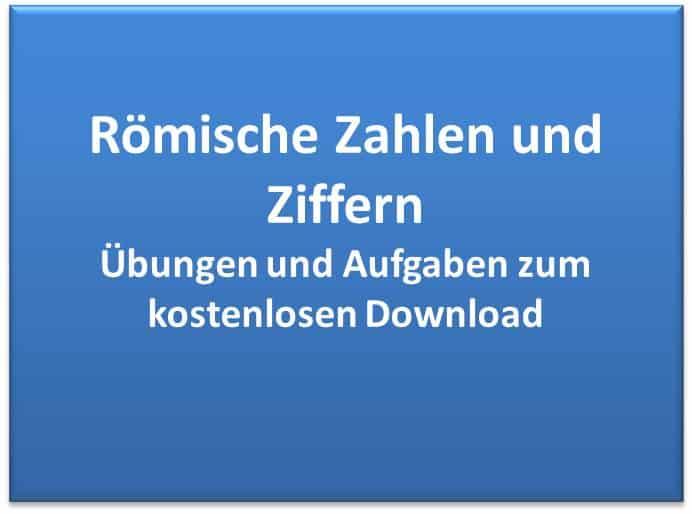 Römische Zahlen Übungen, Aufgaben kostenlos - Bildungsbibel.de