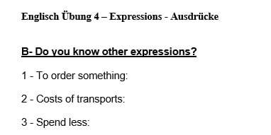 Übungsblatt zum Thema Ausdrücke, Expressions, Synonyme