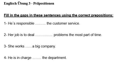 Übungsblatt 3 zu Präpositionen, Prepositions