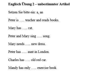 Englisch Übung unbestimmter Artikel a, an