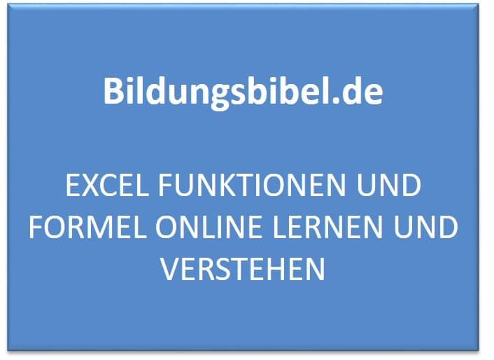 Excel Funktionen und Formel online lernen und verstehen