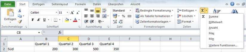 In Excel die Funktion über die Autofunktion nutzen
