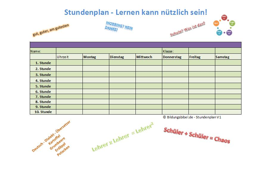 Stundenplan Vorlage Excel, Word, PDF zum Ausdrucken, Stundenplan selbst erstellen downloaden