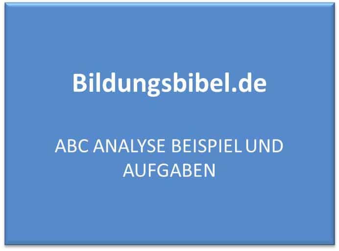 ABC Analyse Beispiel und Aufgaben