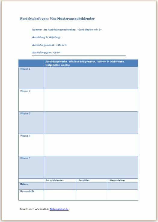 Berichtsheft Vorlage und Ausbildungsnachweis kostenlos