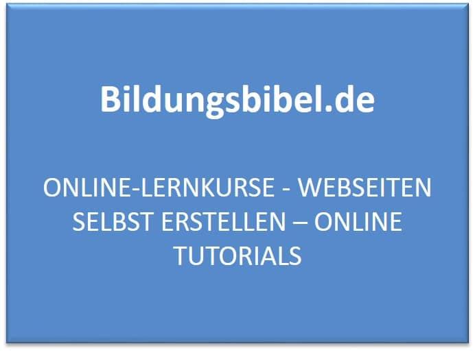 Online Lernkurse - Webseiten selbst erstellen - Online Tutorial