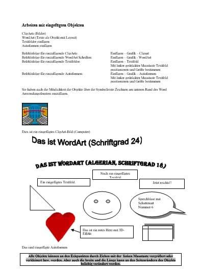 Übungsblatt Grafik, Objekte, Cliparts und Autoformen einfügen