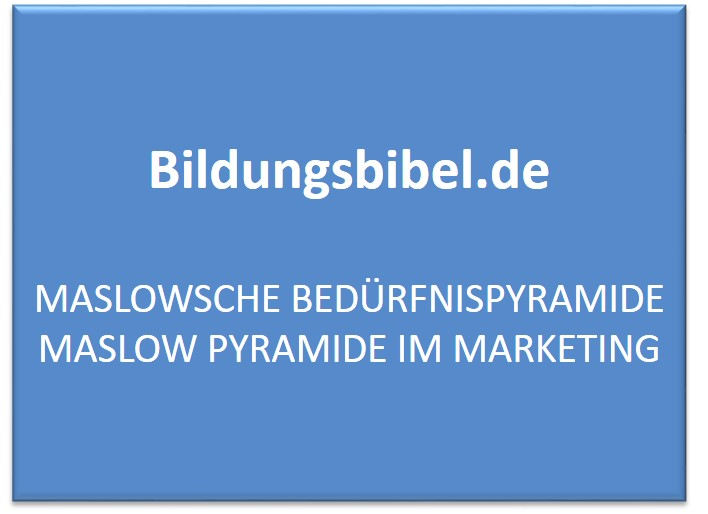Maslowsche Bedürfnispyramide Maslow Pyramide im Marketing