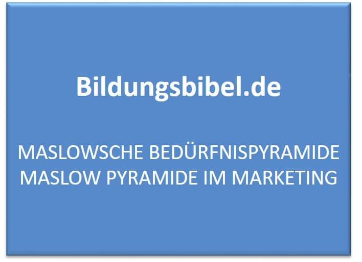 Maslowsche Bedürfnispyramide Maslow Pyramide im Marketing