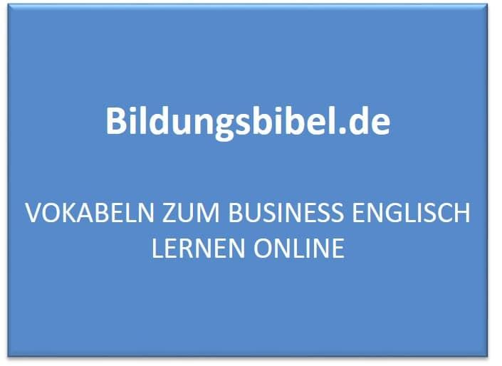 Vokabeln zum Business Englisch lernen online