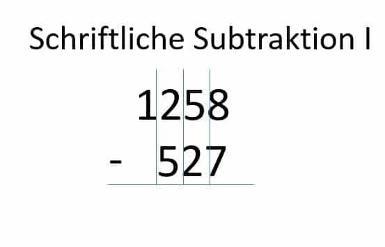 Subtraktion, Zahlen untereinander schreiben und Spalten ausrichten - Schritt 1