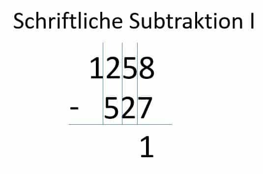 Subtraktion der ersten Spalte Schritt 2