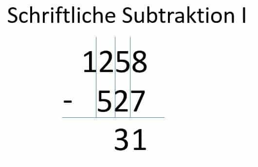 Subtraktion der zweiten Spalte Schritt 3