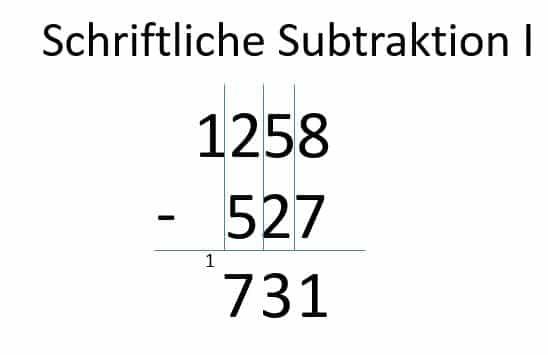 Subtraktion der dritten Spalte mit Übertrag 1 - Schritt 4