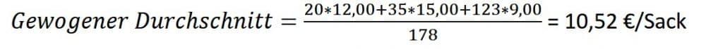 Beispiel gewogener Durchschnitt, gewichteter Mittelwert