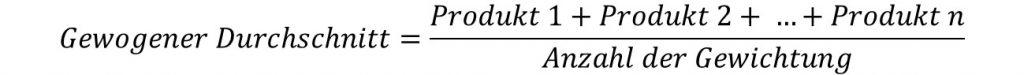 Formel gewogener Durchschnitt, gewichteter Mittelwert
