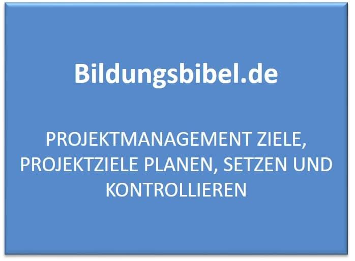 Projektmanagement Ziele, Projektziele planen, setzen und kontrollieren