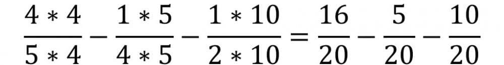 Die Anleitung zur Bruchrechnung Beispiel für die Subtraktion oder Minus - Teil 2 - Brüche erweitern auf gleichen Nenner
