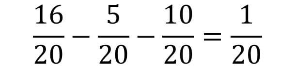 Die Anleitung zur Bruchrechnung am Beispiel für die Subtraktion oder Minus - Teil 3 - Subtrahieren der Brüche und unechten Bruch in die gemischte Form überführen