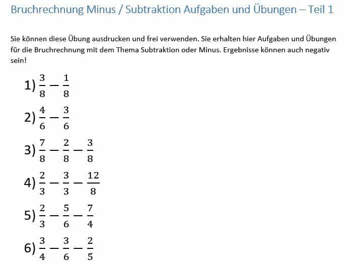 bruchrechnung lernen minus subtraktion von br252chen anleitung