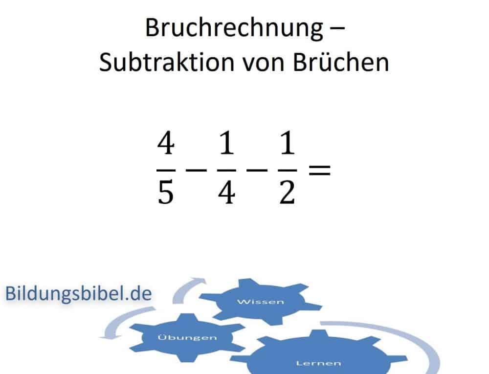 Bruchrechnung Subtraktion oder Minus Beispiel und Anleitung