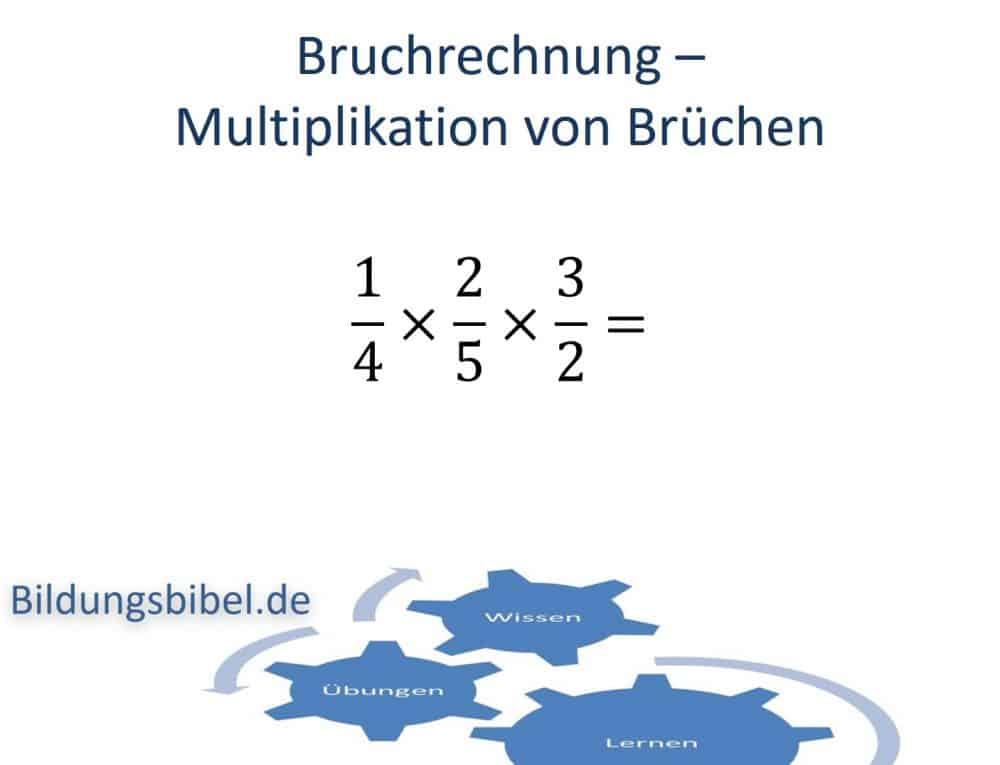 Bruchrechnung Multiplikation oder Mal Beispiel und Anleitung