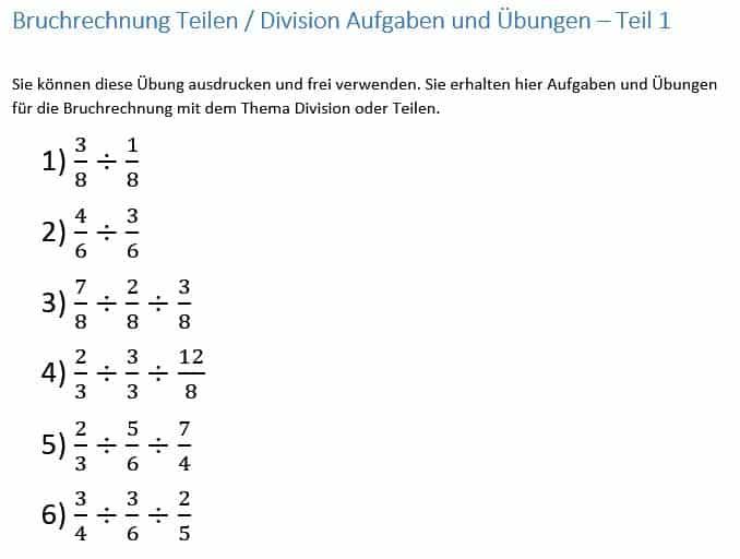 Bruchrechnung, Teilen, Division von Brüchen Anleitung, Beispiel ...
