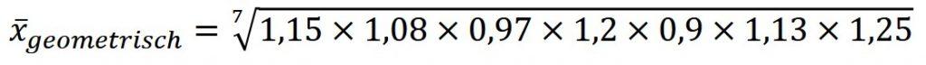 Geometrischer Durchschnitt oder geometrisches Mittel Beispiel Teil 1