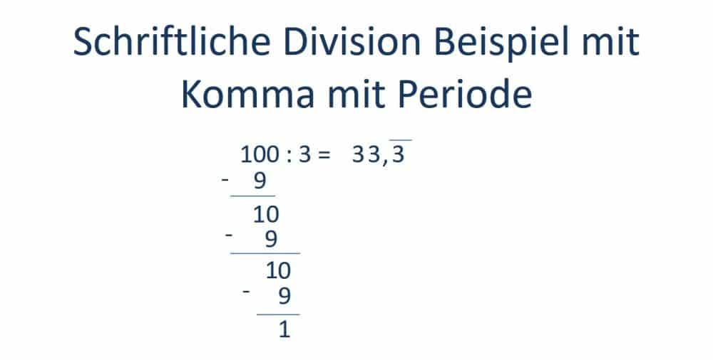 Schriftliche Division, Teilen, Komma setzen und Periode erkennen