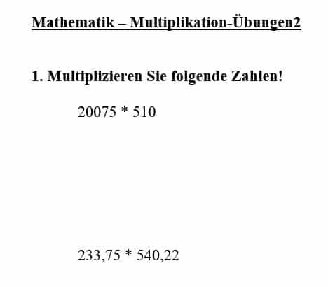 Schriftliche Multiplikation lernen, Mal, Beispiel, Anleitung ...