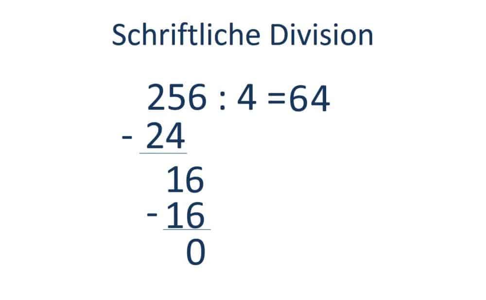 Die schriftliche Division, Teilen, Schritt 5, Rechnen bis zum Rest Null