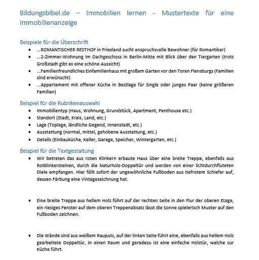 Immobilienanzeige Muster, Vorlage und Beispiele. Immobilienangebot richtig gestalten