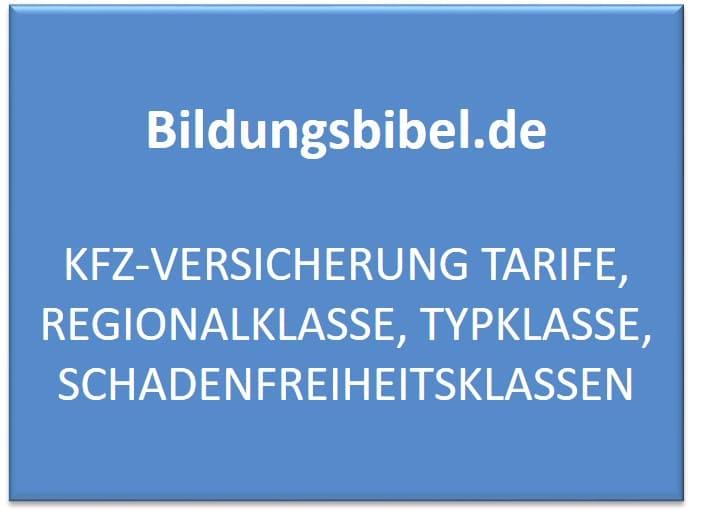 KFZ-Versicherung Tarife, Regionalklasse, Typklasse, Schadenfreiheitsklassen