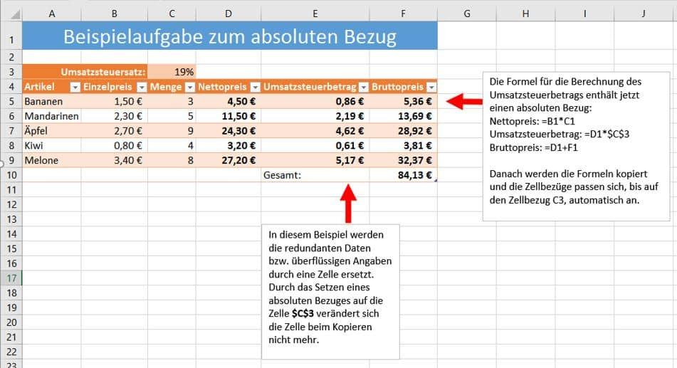 Absolute Bezüge in Excel Beispiel